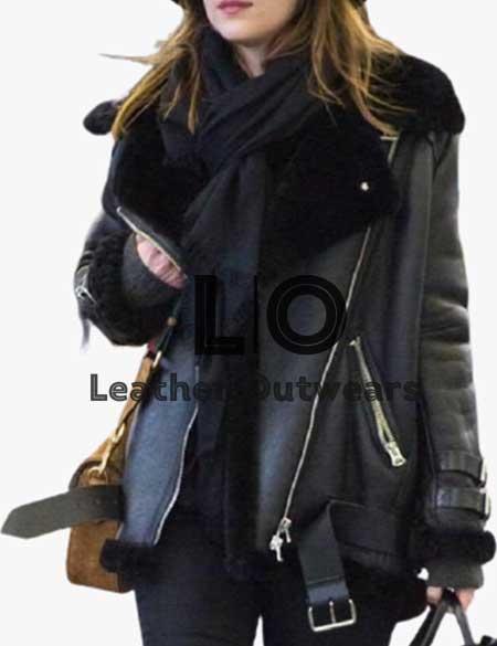 Dakota-Johnson-Black-Fur-Leather-Jacket