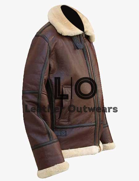 Mens-RAF-B3-Aviator-WWII-Flight-Pilot-Fur-Shearling-Bomber-Jacket