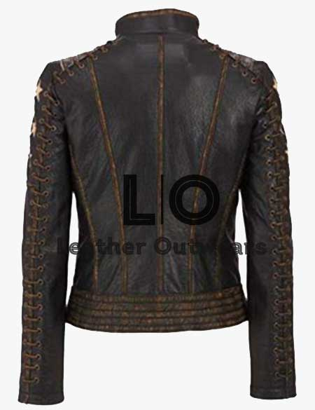 Women-Cafe-Racer-Star-Distressed-Leather-Jacket