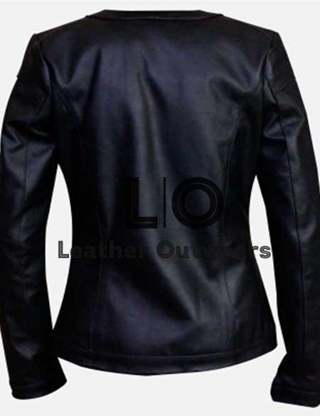 Women-Casual-Slim-fit-Collarless-Black-Jacket