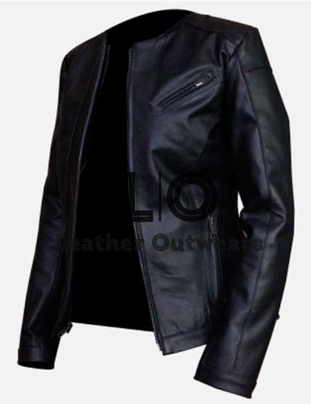 Women-Casual-Slim-fit-Collarless-Black-Leather-Jacket