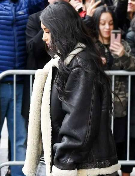Kim-Kardashian-Casual-Wear-Shearling-Leather-Jacket