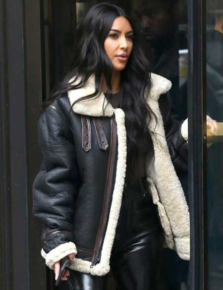 Kim-Kardashian-Shearling-Leather-Jacket