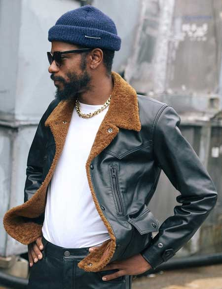 Lakeith-Stanfield-Shearling-Black-Carhartt-Leather-Jacket